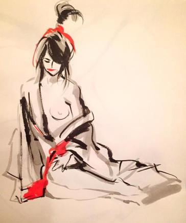Drawing of girl in rope and kimono