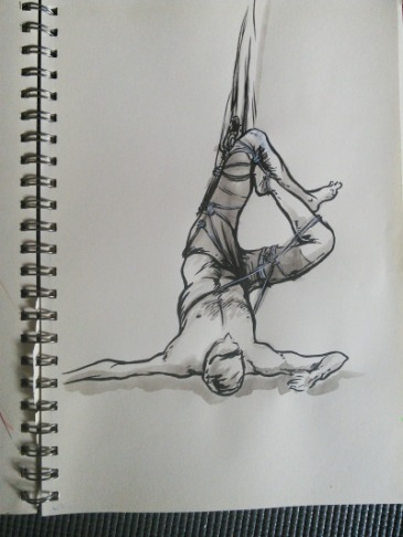 Drawing of a man in rope