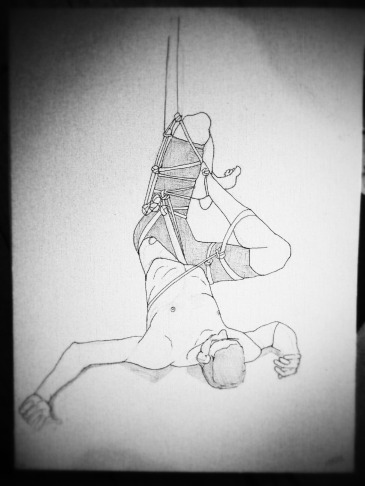 Drawing of man in rope