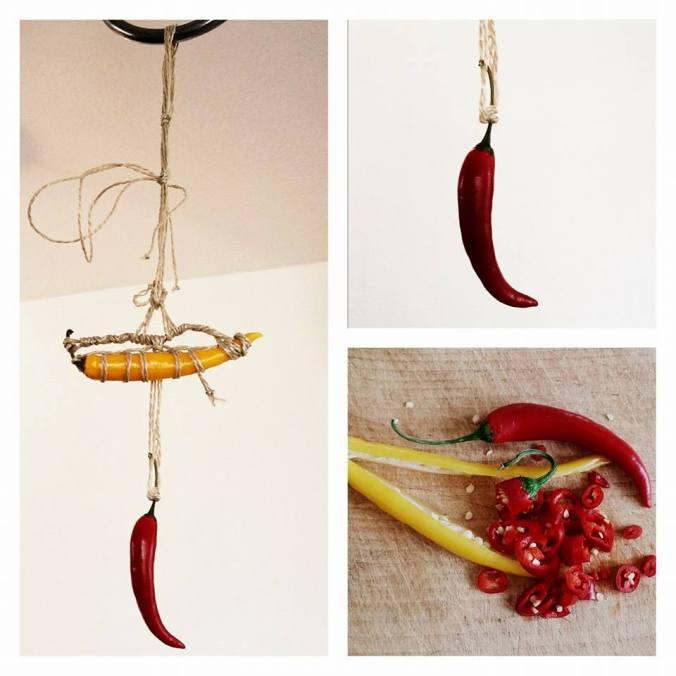 Hot pepper suspended rope