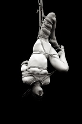 Suspended woman black and white