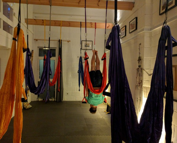Aerial yoga in the studio